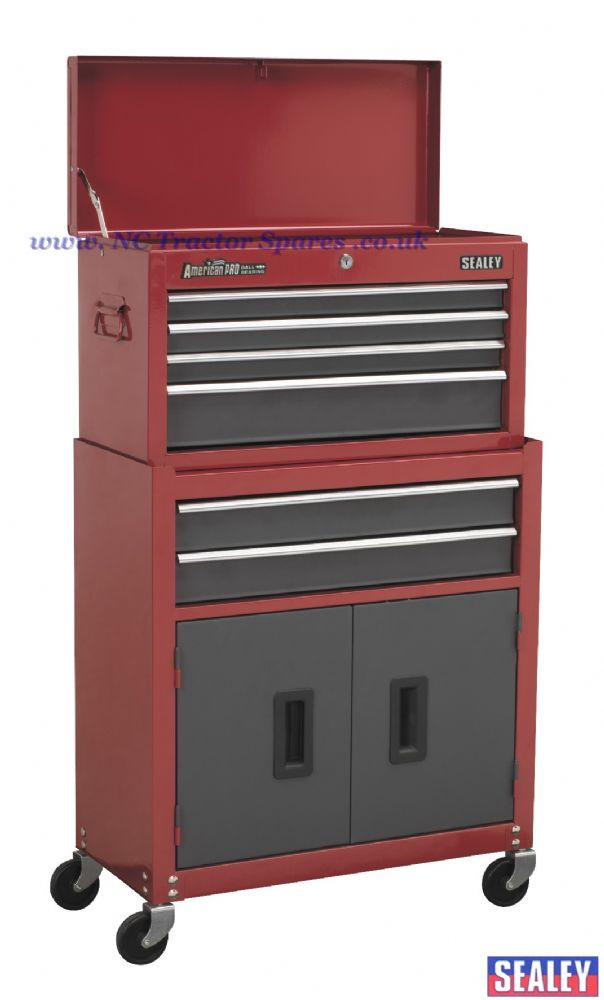 Topchest & Rollcab Combination 6 Drawer with Ball Bearing Runners - Red/Grey